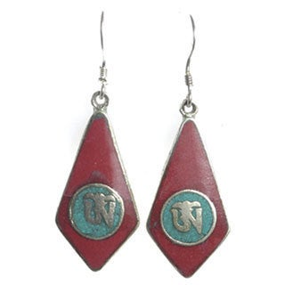 Coral and Turquoise Om Dangle Earrings (Nepal)