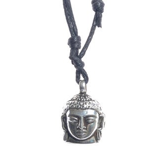 Handmade Sterling Silver Meditating Buddha Pendant with Black Leather Cord (Nepal)