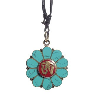Handcrafted Floral Turquoise Om Pendant (Nepal)