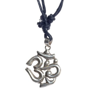 Handcrafted Om Sterling Silver Pendant with Black Leather Cord (Nepal)