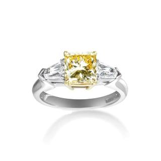 Platinum 2.48ct TDW Certified Yellow White 3-stone Diamond Engagement Ring (F-G, VS1-VS2)