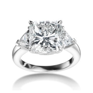 SummerRose Platinum 7.11ct TDW Certified 3-stone Diamond Engagement Ring (I-J, SI1-SI2)