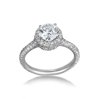 SummerRose Platinum 2.83ct TDW Certified Diamond Engagement Ring (G, VVS2)