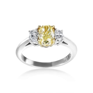 SummerRose Platinum 1 3/4ct TDW Yellow and White 3-stone Diamond Ring (F-G, SI1-SI2)
