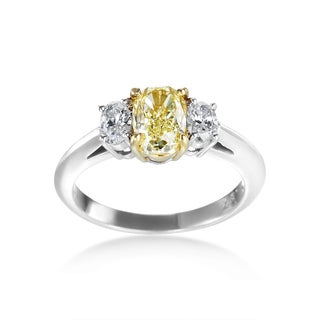 SummerRose Platinum GIA Certified 1 3/4 ct. TDW Fancy Yellow and White 3-stone Diamond Ring (F-G, SI1-SI2)