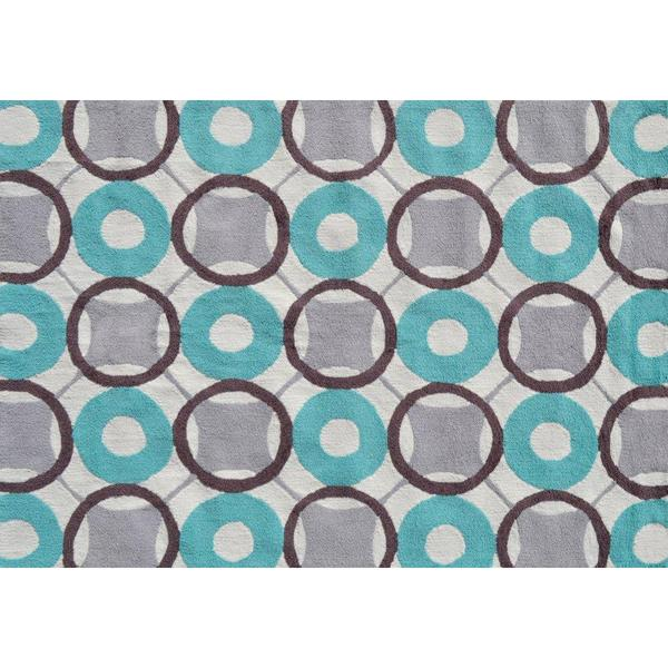 Rounders Blue Area Rug (5' x 7')