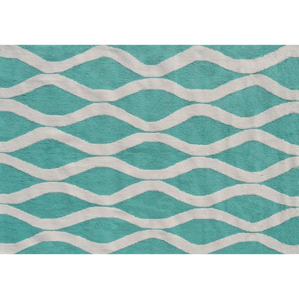 Squiggle Turquoise Area Rug (5' x 7')