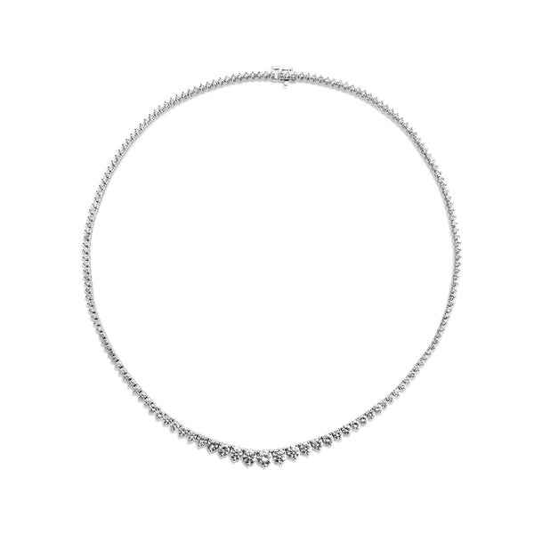 SummerRose 18k White Gold 9ct TDW Three-prong Graduated Tennis Necklace (G-H, VS1-VS2)