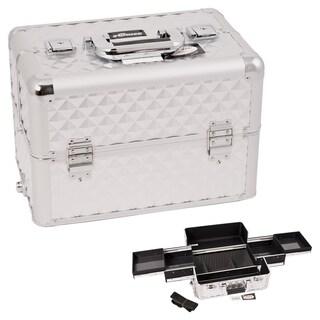 Sunrise Silver Interchangeable Easy Slide Tray Diamond Pattern Professional Makeup Case