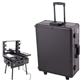 Sunrise Black Professional Rolling Studio Makeup Case with Lights/ Legs/ Mirror