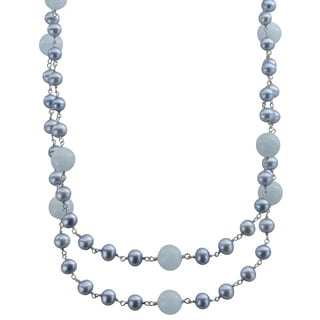 Pearls For You Dyed Blue FWP and Aquamarine 36-inch Necklace (6-7 mm)