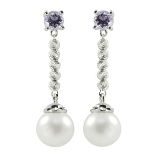 Pearls For You White FWP and Amethyst Brilliance Beaded Earrings (7.5-8 mm)