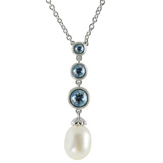Pearls For You Sterling Silver White FWP and Blue Topaz Pendant (8-8.5 mm)