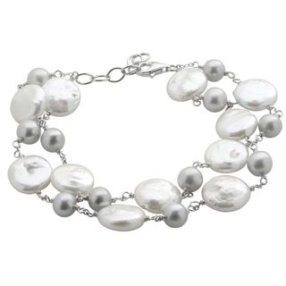 Pearls For You Sterling Silver White Coin and Dyed Grey FWP Bracelet