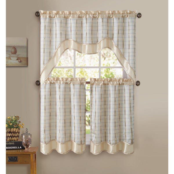 Victoria Classics Sabrina 3-piece Kitchen Curtain Set
