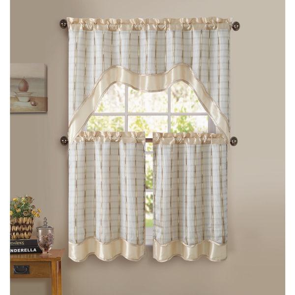 Victoria Classics Sabrina 3-piece Kitchen Curtain Set