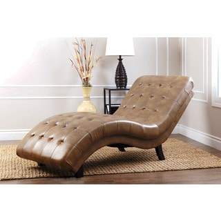 Abbyson Living Soho Brown Leather Chaise