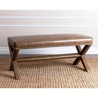 ABBYSON LIVING Marcus Brown Leather Nailhead Trim Extended X Bench