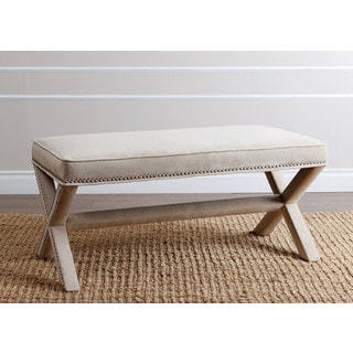 ABBYSON LIVING Marcus Cream Nailhead Trim Extended X Bench