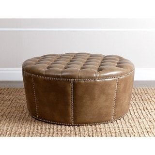 ABBYSON LIVING Newport Brown Leather Nailhead Trim Ottoman