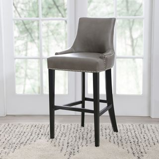 ABBYSON LIVING Newport Grey Leather Nailhead Trim Bar Stool