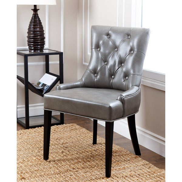 abbyson living napa grey leather tufted dining chair 17089820 overstock shopping great. Black Bedroom Furniture Sets. Home Design Ideas