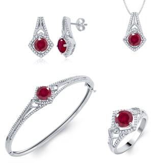 Brass Jewelry Set- Diamond and Created Ruby (I-J, I2-I3)