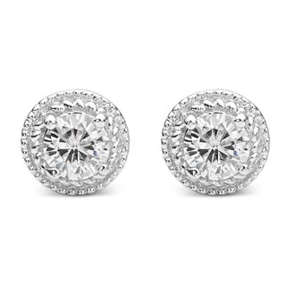Charles & Colvard Sterling Silver 1.00 TGW Round Classic Moissanite Halo Earrings
