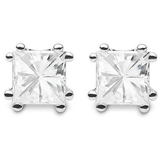 Charles & Colvard Sterling Silver 2.00 TGW Square Brilliant Classic Moissanite Stud Earrings
