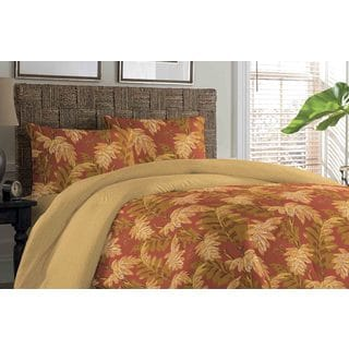 Tommy Bahama Floral Orange Cay Cotton 3-piece Comforter Set