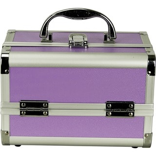 Justcase Purple 2-tier Extendable Trays Makeup Train Case