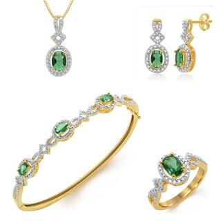 14k Gold-plated Brass Jewelry Set- .03ct TDW Diamond and Created Emerald (I-J, I2-I3)