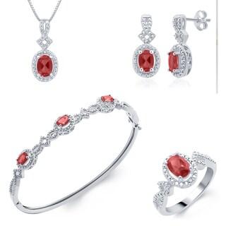 Silver over Brass Jewelry Set- Ruby and Diamond (I-J, I2-I3)