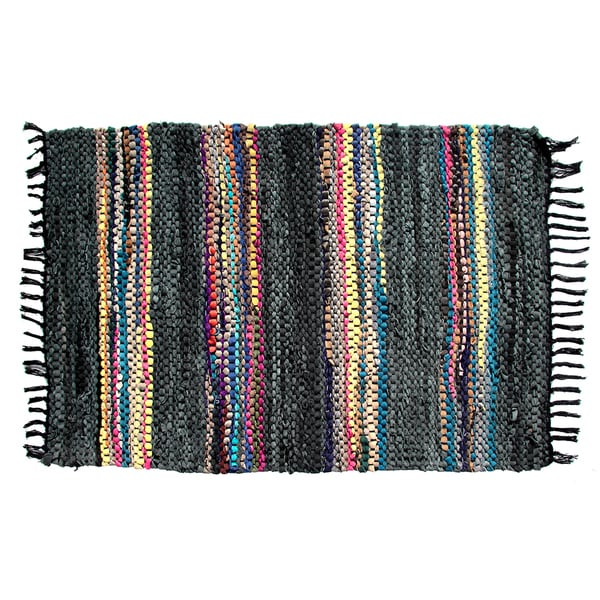 Black Broadway Collection Reversible Rug (3.5' x 5.6')