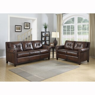 Ashford Brown Top Grain Leather Sofa and Leather Loveseat