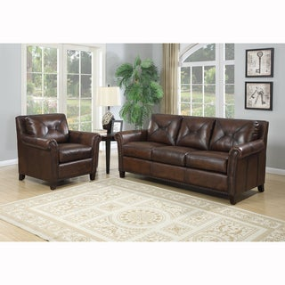 Ashford Brown Top Grain Leather Sofa and Leather Chair
