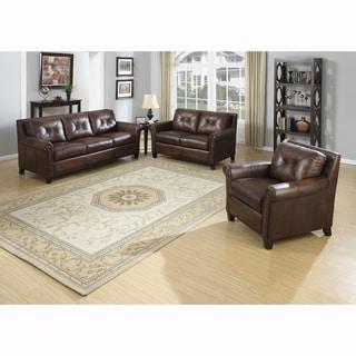 Ashford Brown Top Grain Leather Sofa, Loveseat and Chair