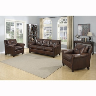 Ashford Brown Top Grain Leather Sofa and Two Leather Chairs