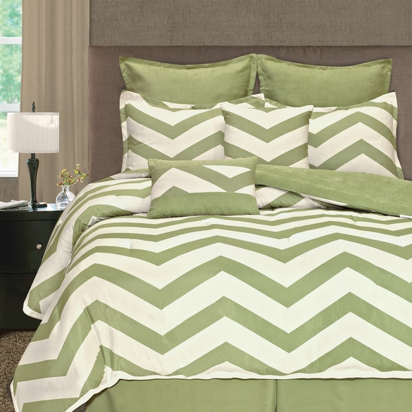 Light Lime Zigzag 8-piece Comforter Set