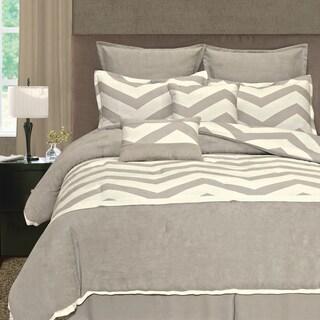 Grey/ Cream Zigzag 8-piece Comforter Set