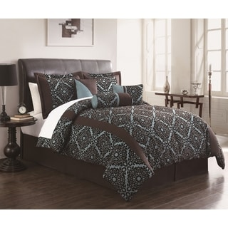 Zamora 7-piece Chocolate/Aqua Flocking Comforter Set