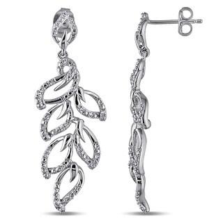 Miadora Sterling Silver 1/4ct TDW Diamond Leaf Earrings (G-H, I2-I3)