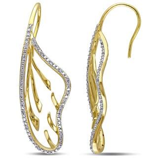 Miadora Yellow Silver 1/4ct TDW Diamond Leaf Earrings (G-H, I2-I3)