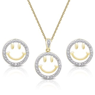 Finesque Gold over Silver Diamond Accent Smiley Face Necklace and Earrings Set