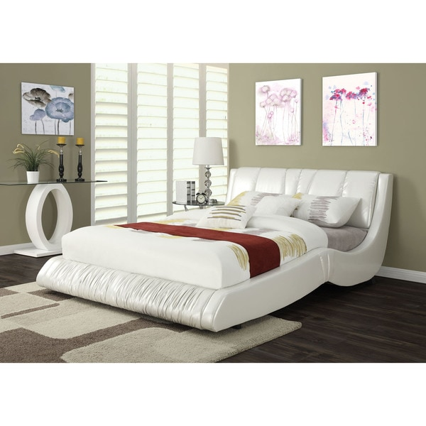 Nathan White Faux Leather Queen Bed