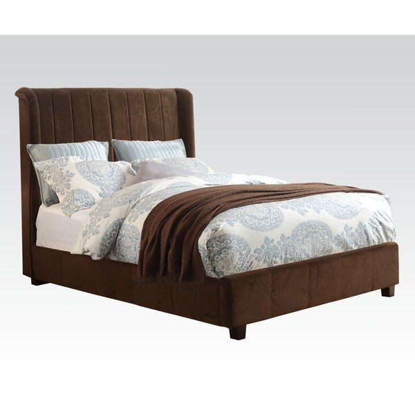 Zachary Dark Brown Micro-velvet Upholstered Bed