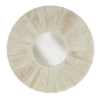 Round Dish Reclaimed Wood Mirror Wall Art