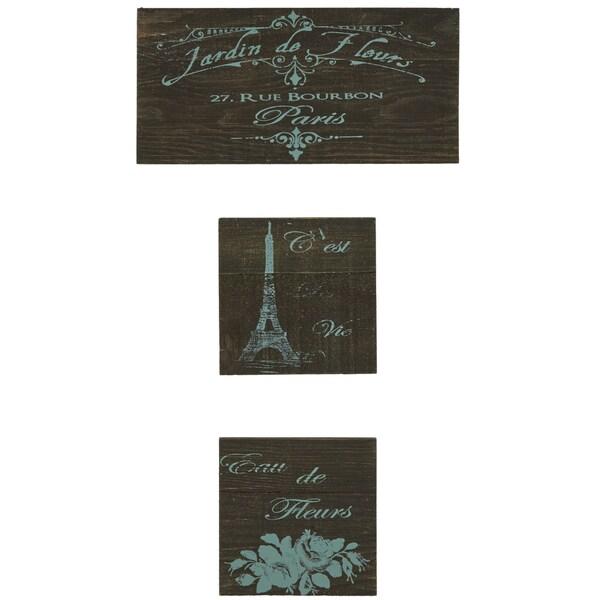 'Jardin De Fleurs' Reclaimed Wood 3-piece Wall Art 14962015
