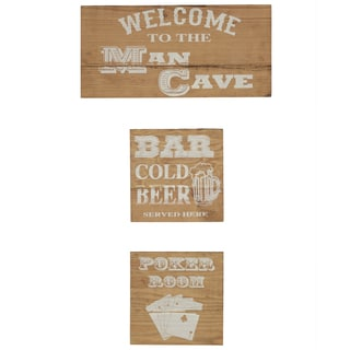 'Man Cave' Reclaimed Wood 3-piece Wall Art