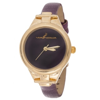 Via Nova Slim Women's Small Goldtone Purple Leather Strap Watch